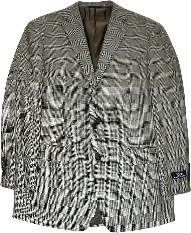 Ralph Lauren Men's Suit Jacket Finally popular brand Black Blazer 40 Tan Tulsa Mall Regula Plaid