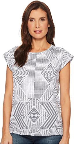 Tribal Printed Jersey Cap Sleeve Top with Back Slit Detail