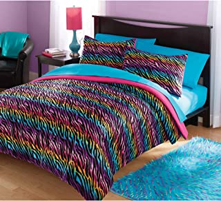 Girls Full/Queen Zebra Rainbow Comforter Set. Includes Comforter and 2 Shams. This Gorgeous Queen Comforter Set Will Suit Your Teen, Girls and Adults Too.