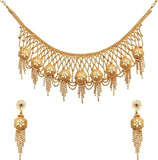 Trendy Classic Gold Plated Kundan Jewellery Necklace Set With Earrings For Women and Girls