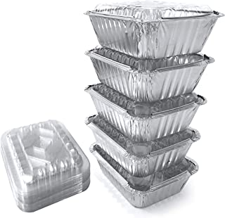 55 Pack - SMALL 1LB, Aluminum Foil Pans/Food Containers/With Plastic Lids/Disposable Aluminum Pans/Foil Pans from Spare Essentials Size 5.9''x4.7''x1.8''
