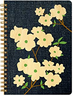Denim Dogwood Journal with Real Wood Covers