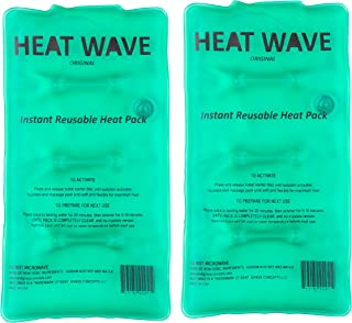 """HEAT WAVE Instant Reusable Heat Packs – 2 Medium (5x9""""), Reusable Heat Pack for Muscle Aches, Back Pain, Pain Relief, Click Heat - Made in USA"""