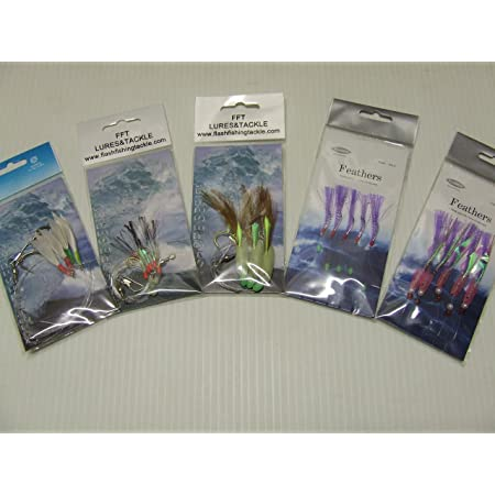 For Cod Feathers to 6//0 Hooks Black Hokki Sea Rigs Pollack Ling Boat Fishing