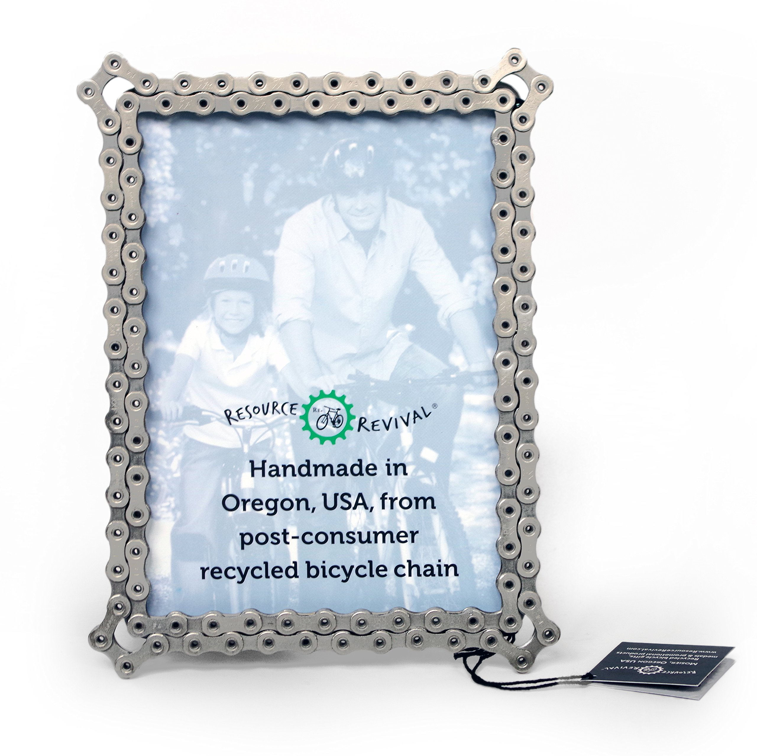 Recycled Bicycle Photo holder 5x7 Created for the Adventurer Bike Chain Picture Frame by Resource Revival