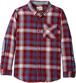 Lucky Brand Kids - Long Sleeve Plaid Shirt Chambray Elbow (Big Kids)