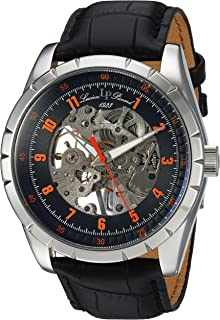 Lucien Piccard Men's Hampton Stainless Steel Mechanical-Hand-Wind Watch with Leather Calfskin Strap, Black, 24 (Model: LP-40028M-01-OA)