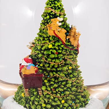 """Santa in Sleigh with Reindeer Flying Around Christmas Tree Musical Snow Globe Glitterdome - 8"""" Tall 120MM - Plays Tune Sa"""