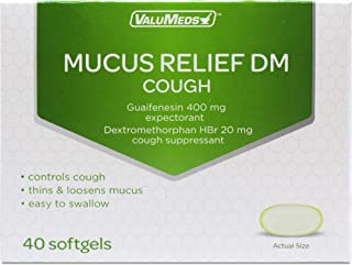 ValuMeds Mucus Relief DM Softgels (40 Softgels) Expectorant, Decongestant, and Cough Suppressant   Guaifenesin (400mg) and Dextromethorphan (20mg)