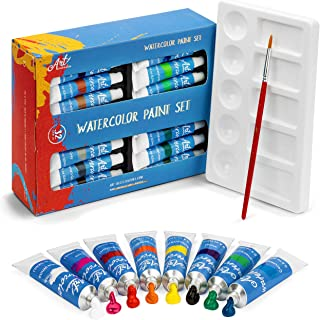 Watercolor Paint Set - 32 Water Color Paints for Adults, Artists & Kids - Extra Palette Tray & Paint Brush Included - Prof...