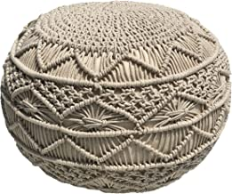 Pouf Ottoman Hand Knitted Cable Style Dori Pouf - Macramé Pouf - Floor Ottoman - 100% Cotton Braid Cord - Handmade & Hand Stitched - Truly one of a Kind Seating - 20 Diameter x 14 Height (Natural)