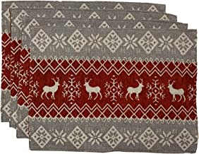 Nidico Set of 4, Chennile Christmas Decorative Tapestry Placemats Size : 13 x 19. (Deer)