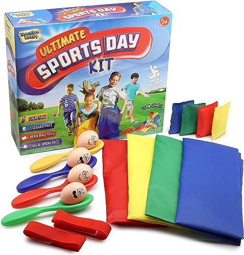 KreativeKraft Sports Day Kit | Mega Ensemble De 18 Pièces Jeux D'extérieur pour Fête d'enfants, Ecole Ou Kermesse | C...