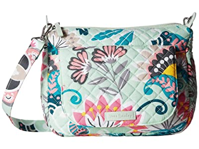 Vera Bradley Carson Mini Shoulder Bag (Mint Flowers) Cross Body Handbags