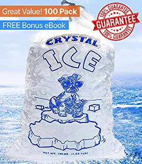 Crystal Clear Commercial Ice Bags 10 lb with Drawstring - Extra STRENGTH Reusable, Puncture-Proof - FDA Safe Food Grade Plastic