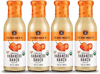Tessemae's Organic Habanero Ranch Dressing 4 pack, Whole30 Certified, USDA Organic, soy-free, dairy-free, gluten-free, sugar-free, keto approved, with organic habanero and jalapeno pepper flavor