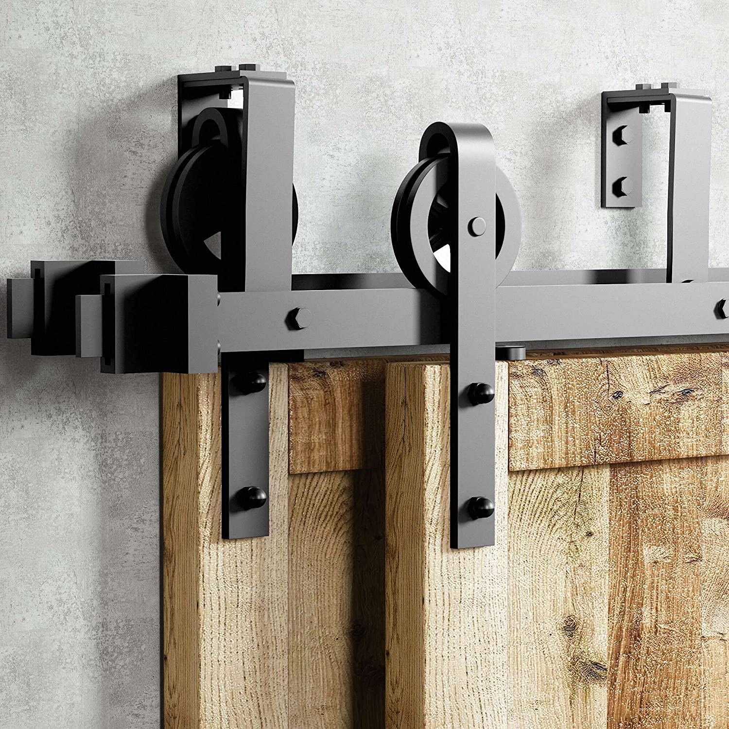 Homacer Black Recommendation Rustic Ranking TOP16 Double Track Barn Bypass Do U-Shape Sliding