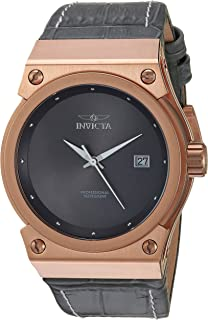 Invicta Women's Akula Gold Quartz Watch with Leather Calfskin Strap, Grey, 27 (Model: 24463)