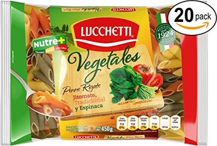 Lucchetti Penne Rigate Vegetales, 450 g x 20 paquetes