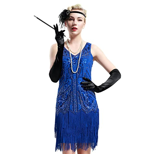 69083e54608 BABEYOND Women s Flapper Dresses 1920s V Neck Beaded Fringed Great Gatsby  Dress (Label S