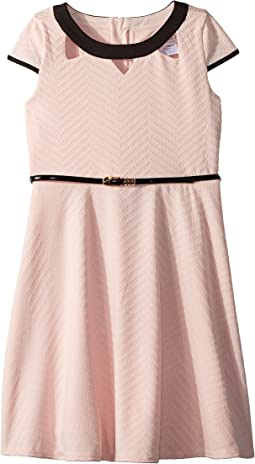 Us Angels Cap Sleeve Fit & Flare Textured Knit Dress with Cut Outs (Big Kids)