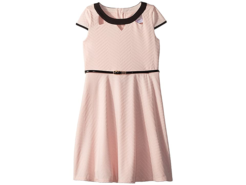 Us Angels Cap Sleeve Fit Flare Textured Knit Dress with Cut Outs (Big Kids) (Peach) Girl