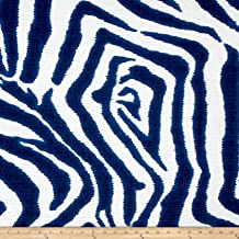 Lacefield Designs Zebra Ikat Marina White Flax Fabric by The Yard, Cream/Blue