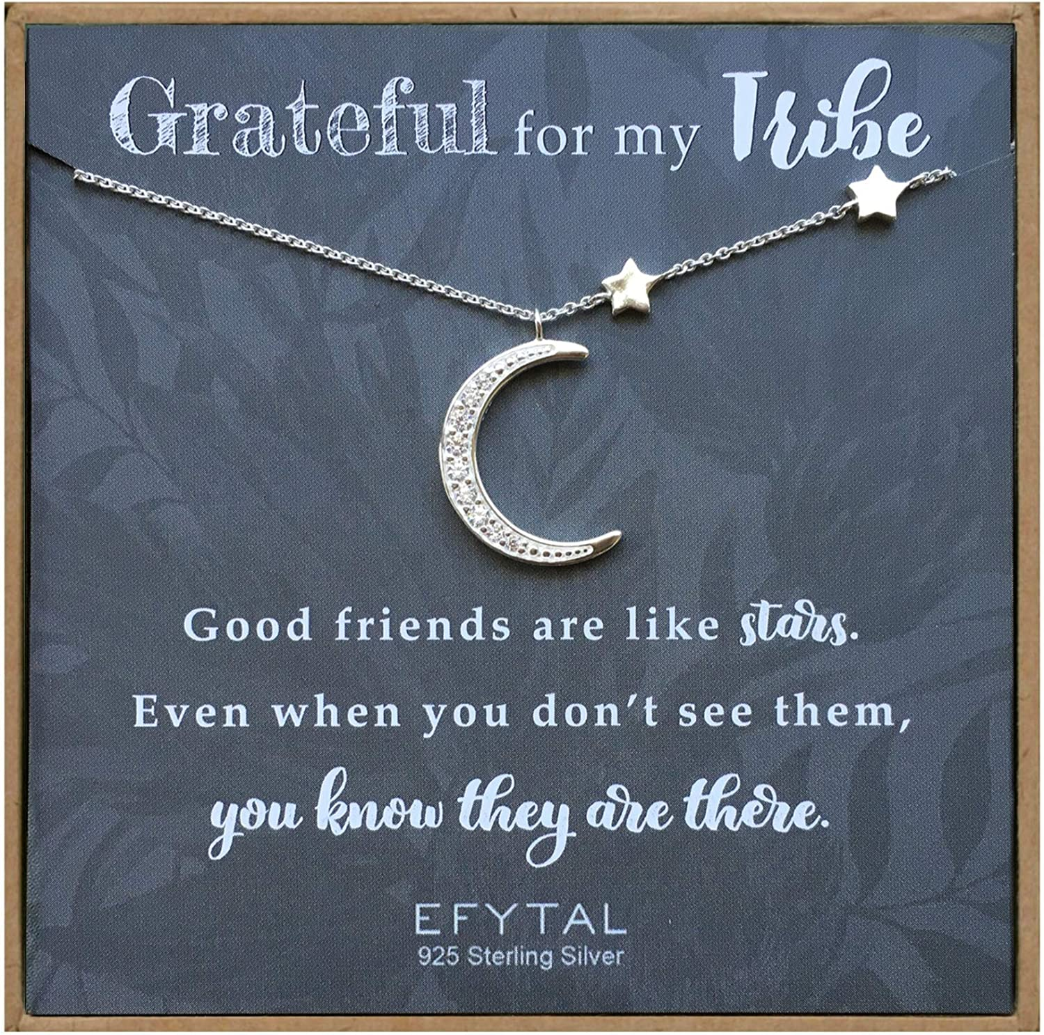 EFYTAL 925 Sterling Silver CZ Branded goods Moon Necklace and for New York Mall Friend Stars