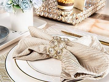 occasions sp/éciales d/îner de famille Feyarl Lot de 8 ronds de serviette en perles de cristal brillantes pour mariage banquet centre de table d/écoration romantique aux chandelles argent No/ël