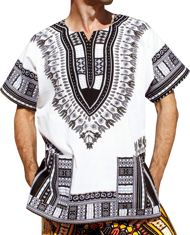 RaanPahMuang Unisex African 5 ☆ very popular Bright Variety New item Cotton Dashiki Shirt
