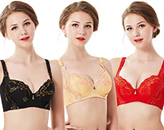7907d64992 Women s Soft B Cup Push Up Bras Lace Underwire with Floral Embroidery (3 ...