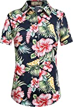 SSLR Women's Floral Button Down Causal Short Sleeve Aloha Hawaiian Shirt