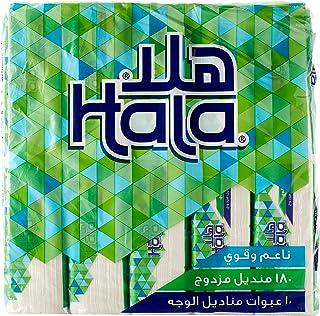Hala Face Tissues, 180 Sheets, 2 Plies, 10 Packs, TF72PL1810R11