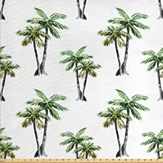 Ambesonne Palm Tree Fabric by The Yard, Botanical Watercolor Artwork of Hawaiian Aloha Forest Palm Trees in Pairs, Decorative Fabric for Upholstery and Home Accents, 1 Yard, White Green