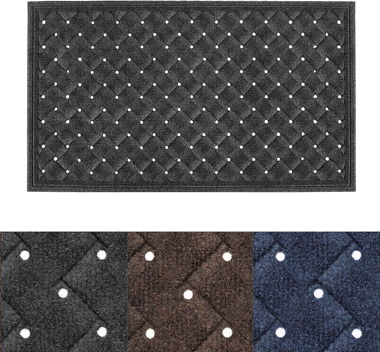 """Outside Inside Front Door Mat - 35""""x23.5"""" Durable Rubber Door Mat Entrance Welcome Rug Heavy Duty Floor Mat for Entry, Patio, Back Door (Dark Grey)"""