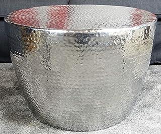 MichaelNoll Couchtisch Wohnzimmertisch Sofatisch Beistelltisch Tisch Groß aus Metall, Hammerschlag Orient Aluminium Rund Silber 58 cm