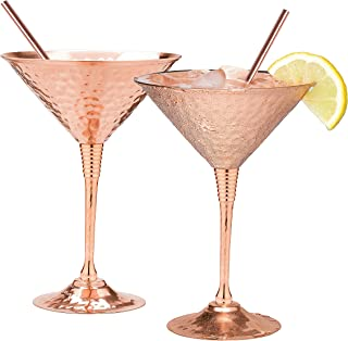 743d8248e03c Copper martini glasses set of 2 by Mosscoff – 9.5oz Hand hammered solid copper  goblets