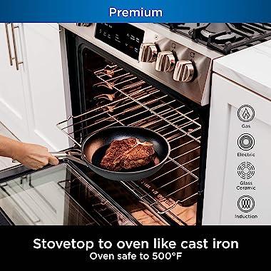 Ninja Foodi NeverStick Premium Hard-Anodized 12-Piece Cookware Set, nonstick, durable, oven safe to 500°F, slate grey, C39800