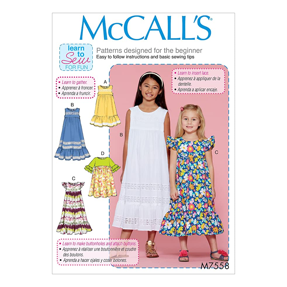 McCall's Patterns M7558CCE Children's/Girls' Sleeveless and Ruffle Sleeve Empire-Waist Dresses