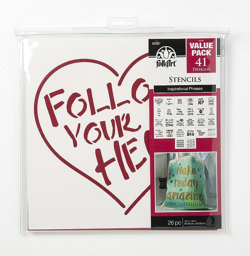 FolkArt 6109E Value Pack-Inspiration Stencil, 12