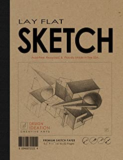 "Design Ideation Lay Flat : Removable Sheet Pad. Multi-Media Paper Sketch Pad for Pencil, Ink, Marker, Charcoal and Watercolor Paints. Great for Art, Design and Education. (8.5"" x 11"") (2)"