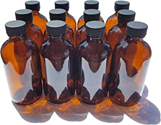 4 oz Amber Glass Boston Round Bottles with Black Ribbed Cap - 12 Pack