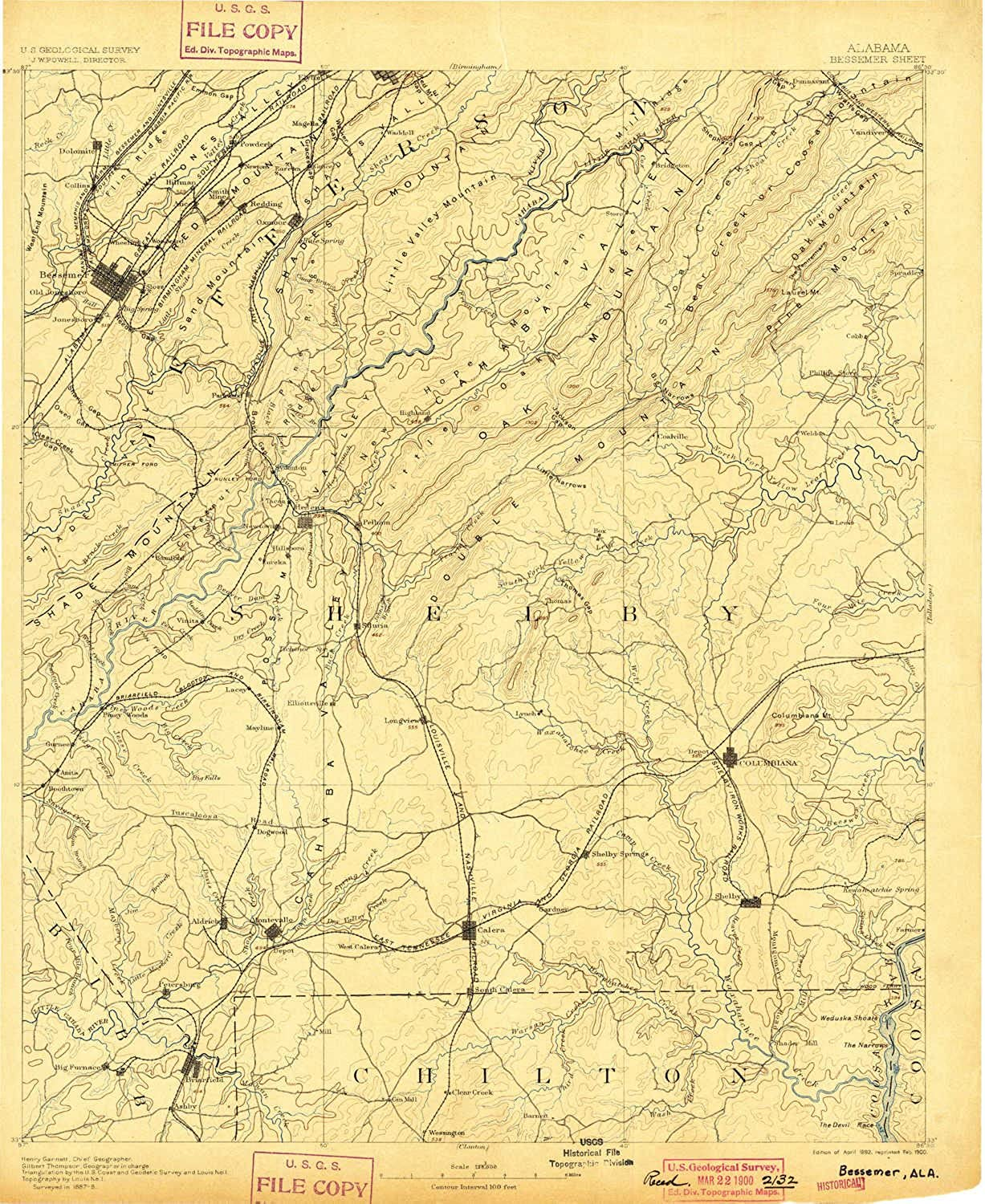 Bessemer AL topo map, 1 125000 Scale, 30 X 30 Minute, Historical, 1892, Updated 1900, 19.6 x 16.1 in
