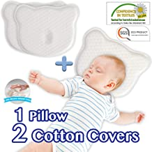 Flat Head Shaping Baby Pillow - 2 Washable Organic Cotton Case for Newborn Infant to Prevent Flathead or Plagiocephaly Syndrome   Soft Memory Foam Pillow 0-12 Months (1 Pillow Case Bonus),