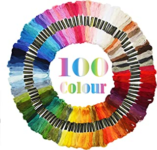 ATDAWN Rainbow Color Embroidery, Cross Stitch Threads, Bracelets, Crafts Floss,100 Skeins