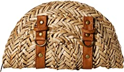 San Diego Hat Company - BSB1563 Woven Seagrass Clutch with Faux Leather Straps and Buckle Details