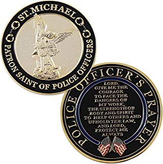 St. Michael Patron Saint of Police Officers Challenge Coin With Prayer