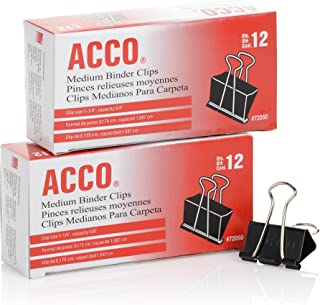 ACCO Binder Clips, Medium,Black, 2 Boxes, 12/Box (A7072062)