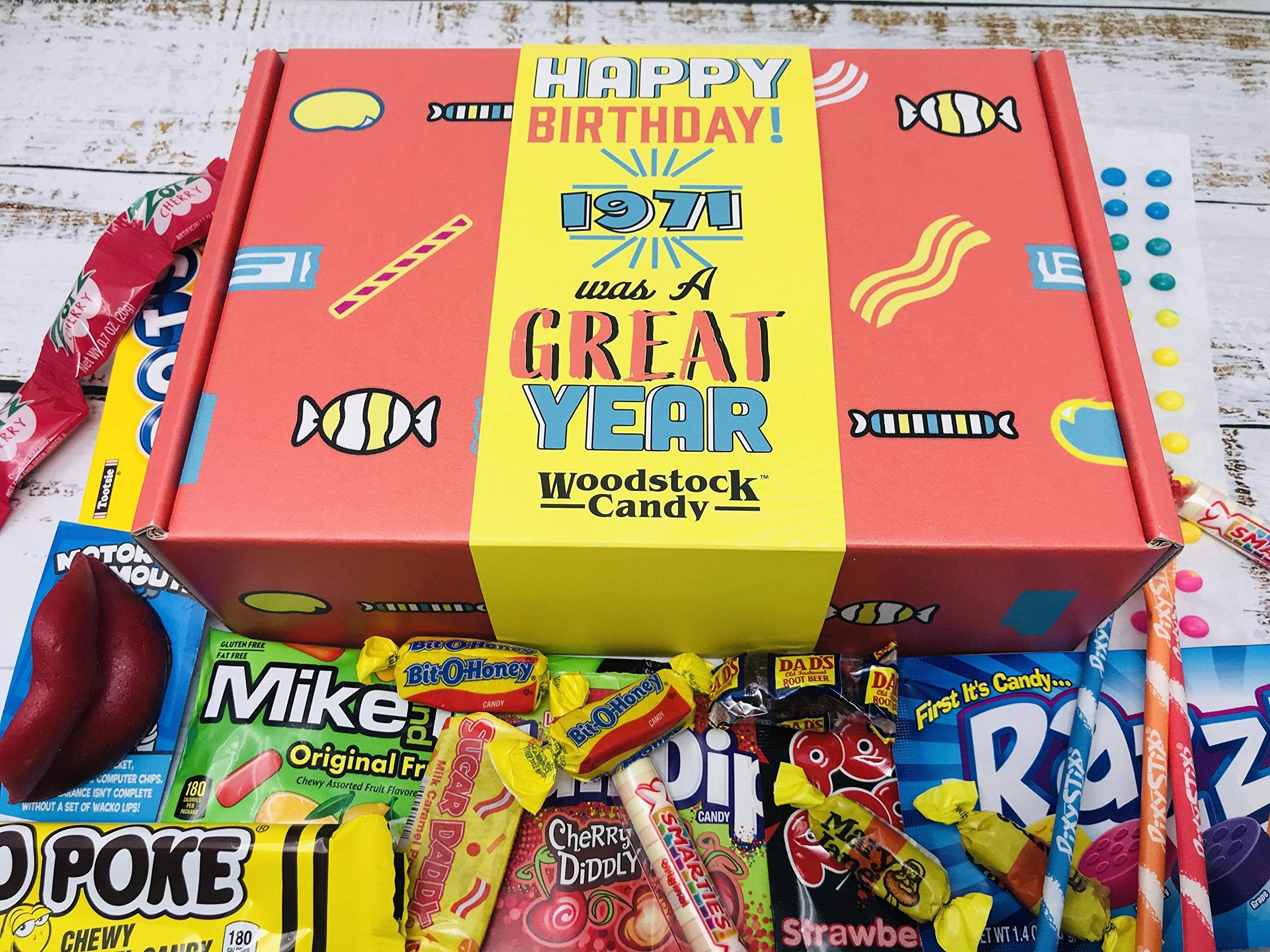 Woodstock Candy ~ Nostalgic 1971 50th Birthday Gift Box of Retro Candy Mix from Childhood Fun Gifts for Men and Women Turning 50 Years Old Born 1971 - Jr