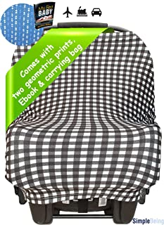 Simple Being Nursing Breastfeeding Cover (2 Pack) - Multi Use Car Seat Canopy, Nursing Pads, Shopping Cart, Stroller Covers for Girls and Boys - Baby Shower Registry (Geometric)